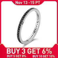 WOSTU Authentische 925 Sterling Silber Finger Stapelbar Ringe Mit Schwarz CZ Für Frauen Mode Schmuck Feine Geschenk FIR114