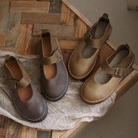 Women Handmade Soft Leather Mary Jane Shoes Flats Retro Round Toe Designer Shoes Coffee/Brown
