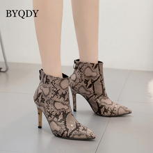 BYQDY Sexy Snake Print PU Leather Woman Ankle Boots Thin High Heel Winter Pointed Toe Botas Western Cowboy Size 40