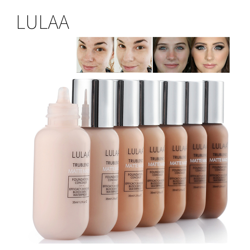 LULAA Matte Liquid Foundation Makeup Base Nude Face Cover Concealer Long Lasting Makeup Natural Oil Control TSLM2 image