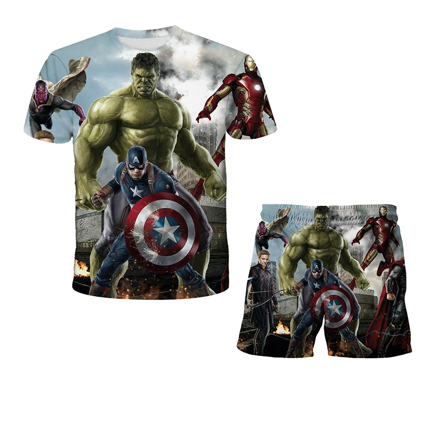 Movie hulk Tshirts Children Clothing Sets Boys Pants Summer Casual Kids Clothes Baby boy Sets Boy Clothes Child Tracksuit Sets