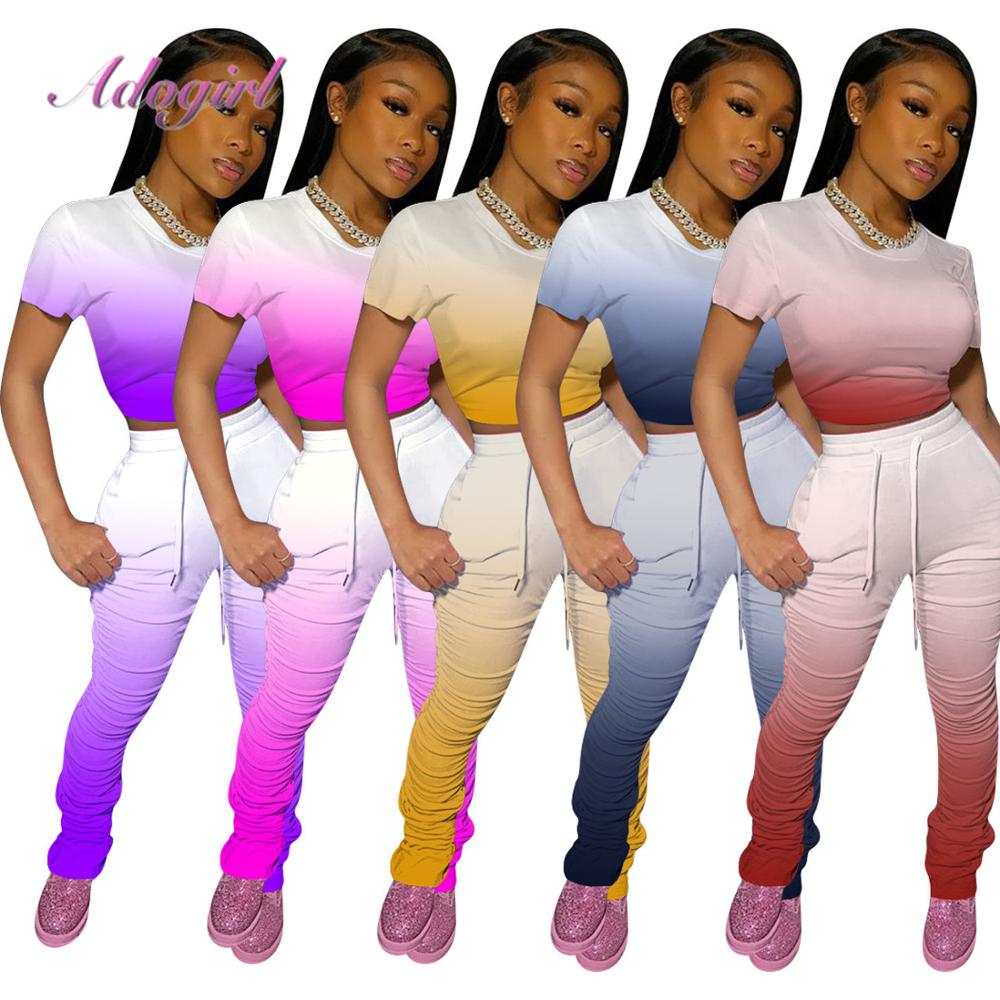 Women Tracksuit Casual Gradient Color Short Sleeve Crop Tops TeeStacked Leggings Bell Bottom Pants Suit Joggerss Two Piece Set