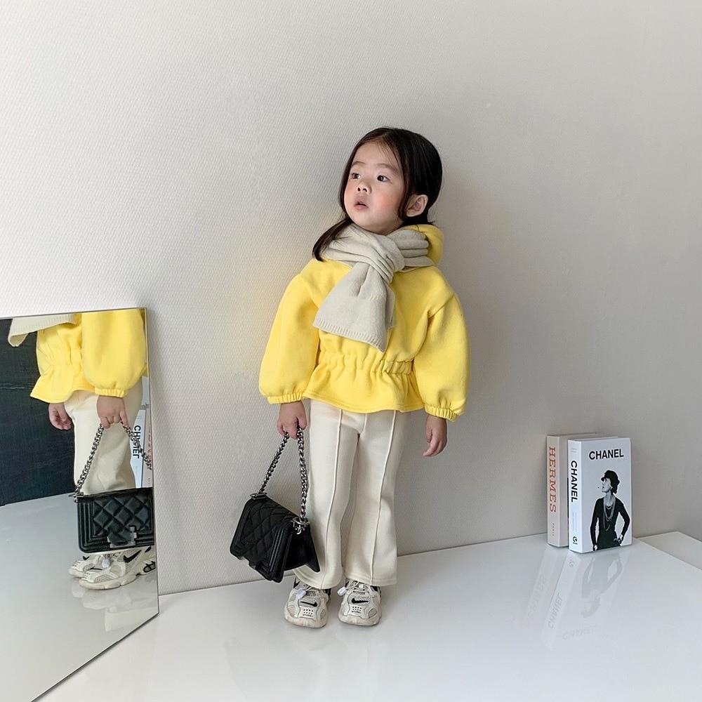 2021 Autumn Winter New Arrival Girls Fashion Flare Pants Kids Warm Fleece Pants 2