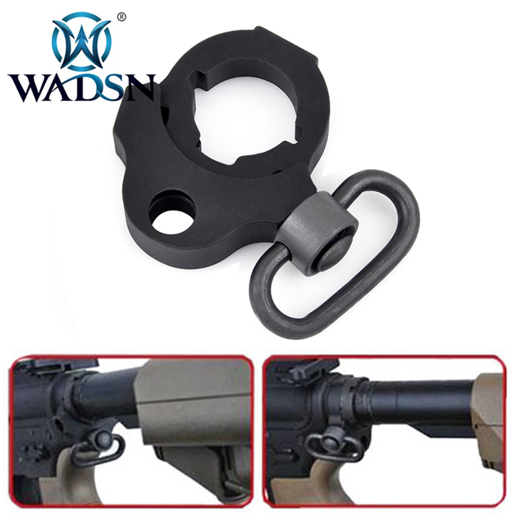 WADSN Tactical PWS Style Black Ambidextrous Stock <font><b>Tube</b></font> Sling Ring pws stock base sling adapater For <font><b>M4</b></font> AEGS Hunting Accessories image