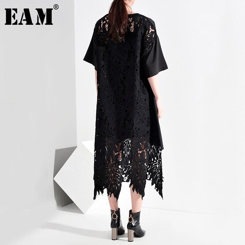 [EAM] Women Black Back Lace Split Big Size Dress New Round Neck Short Sleeve Loose Fit Fashion Tide Spring  Summer 2020 JR76401