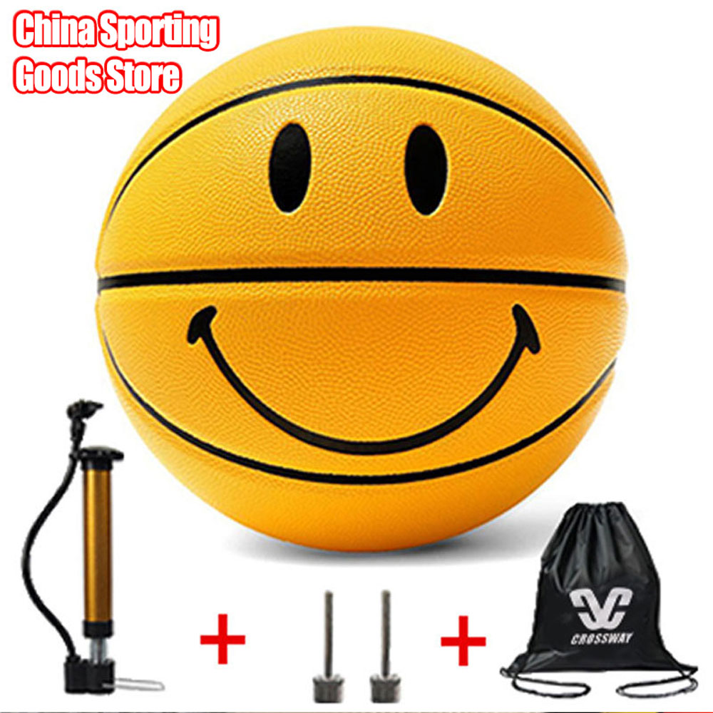 Smiling Face Basketball, Sporting Goods, Basketball, Dedicated To Training, Entertainment, Free Air Pump + Air Needle + Bag