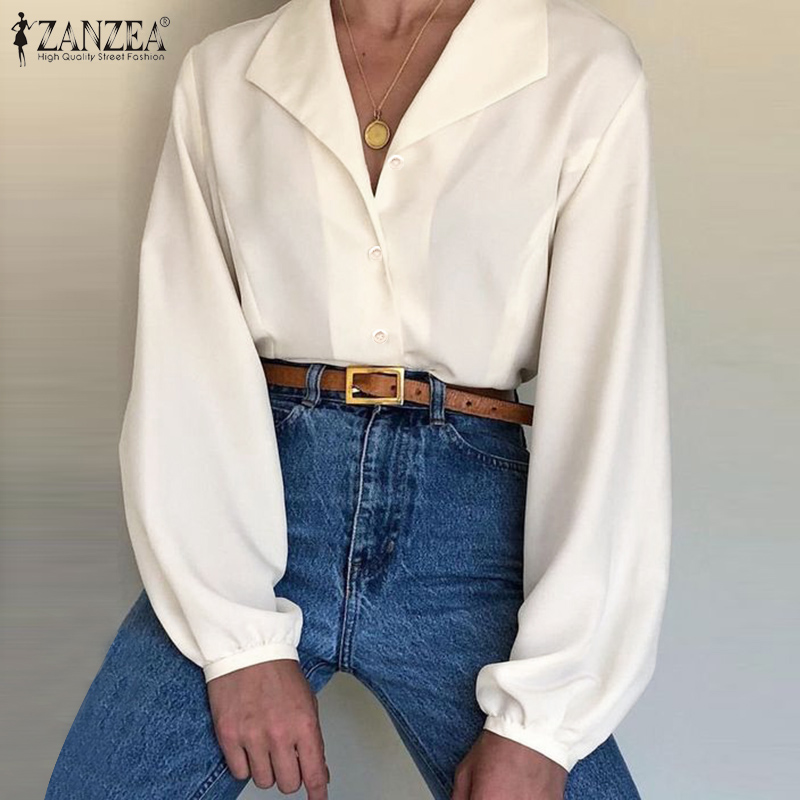 Elegant Lapel Shirts Women's Button Blouse 2020 ZANZEA Spring Long Sleeve Work Blusas Female Solid Tunic Plus Size Tops S-5XL