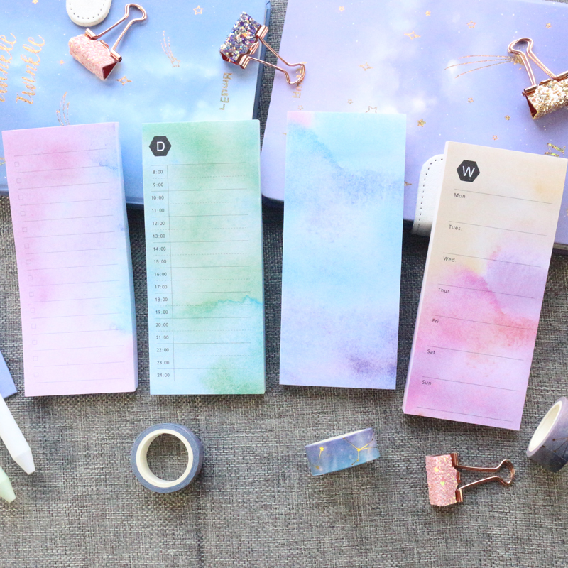 Domikee New Creative Cute Kawaii Colorful Office School Sticky Memo Pad Notepad Stationery:daily Weekly Planner ,thick 100sheets