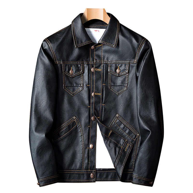 HENCHIRY 2019 コートメンズ冬秋黒ファッションオートバイジャケット PU ジャケットゴシックフェイクレザーコート