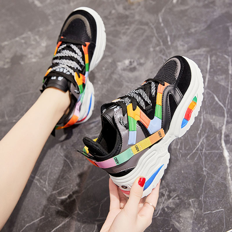 2020 Stylish Woman's Vulcanize Shoes Increasing 6CM INS High Heel Sneakers Women Height Platform Breathable Sports Walking Girls