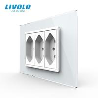 Livolo-enchufe estándar de 3 pines tipo N, toma de corriente de pared con agujero de 3 pines, panel de vidrio, 10A/20A