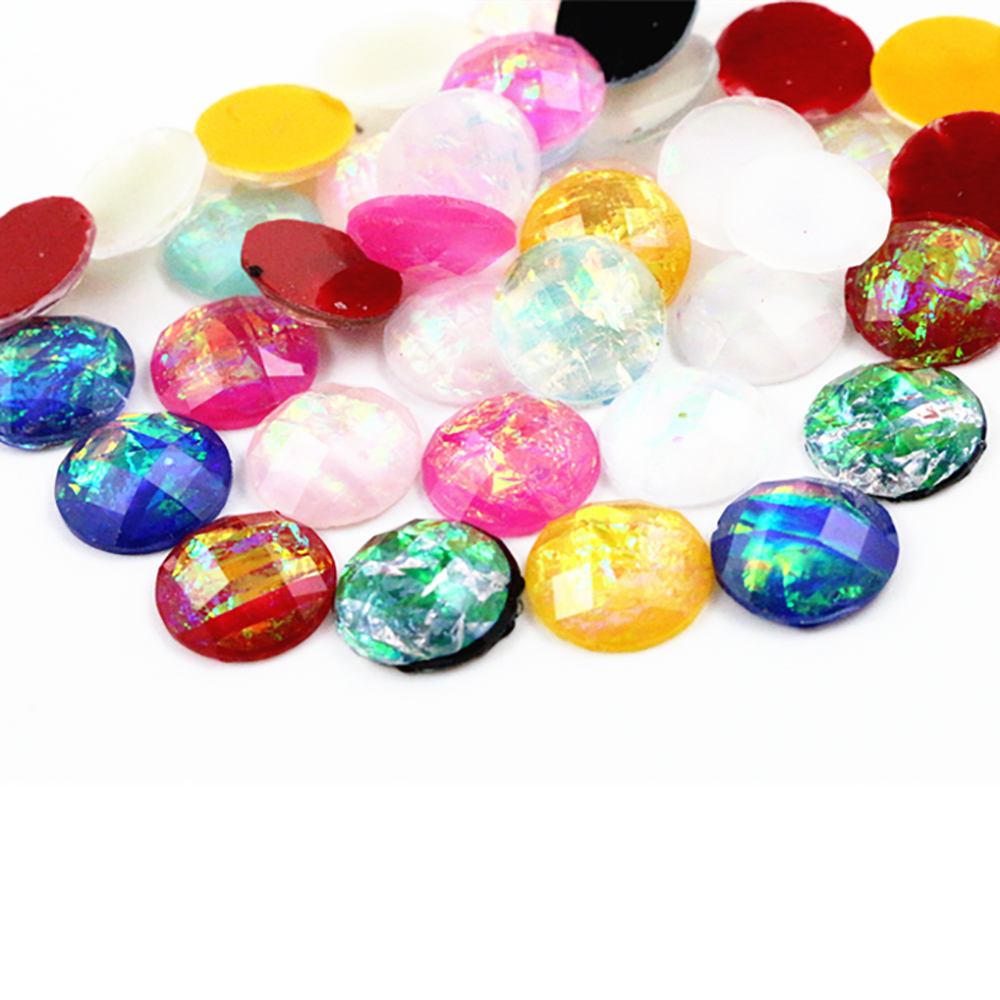 New Fashion 40pcs 12mm Mix Colors Tangent Plane Built-in Metal Foil Flat Back Resin Cabochons Cameo