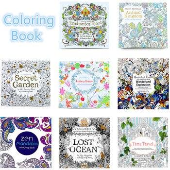 8 Uds 12 páginas Reino Animal edición en inglés libro para colorear para los niños adultos aliviar el estrés matar tiempo pintura libros de dibujo