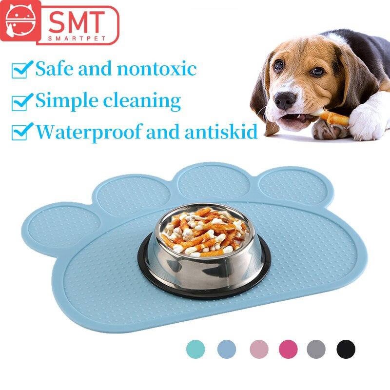 Tahan Air Pet Makanan Mat Untuk Anjing Kucing Warna Solid Silikon