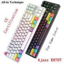 Ajazz K870T 87 مفاتيح بلوتوث السلكية/لاسلكية لوحة المفاتيح الميكانيكية للاعبين الكمبيوتر المحمول الكمبيوتر اللوحي مع RGB الخلفية نوع C