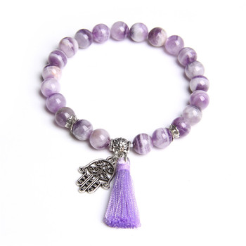 Natural purple dream Amethysts crystal stone beads bracelet jewelry gifts metal Fatima hand tassel charm bracelets women ladies image