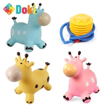 Doki Toy New Drop Shop Inpany Bouncy Giraffe Hopper Inflatable Jumping Giraffe Bouncing Animal Toys Rubber Horse Thickened PVC