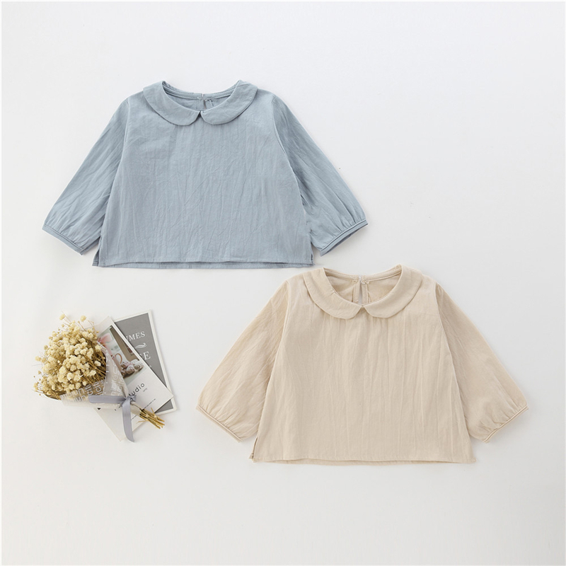Fashion Blue beige Kids Clothes Girl Shirts spring Summer Baby Girls Blouses Cute Long Sleeve Solid Doll collar Tops