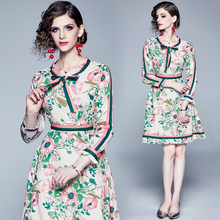 2019 Autumn Fashion Runway Long Sleeve Dress Womens Belted Collar Multicolor Floral Print Vintage Elegant