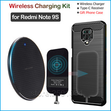 Qi Wireless Charging for Xiaomi Redmi Note 9S Qi Wireless Charger+USB Type C Receiver Nillkin Adapter Gift TPU Case