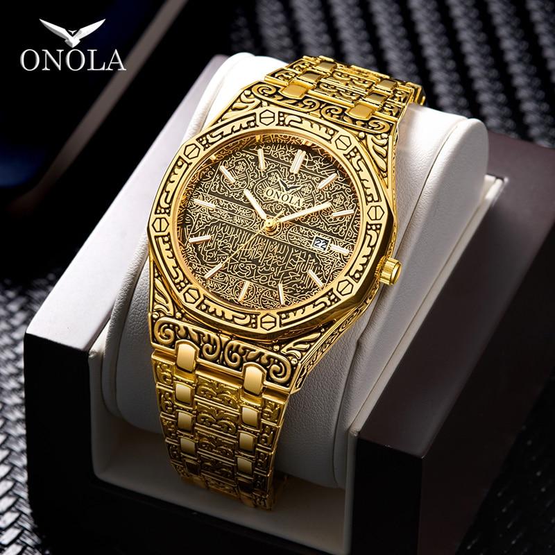 ONOLA vintage carved watch man waterproof Original steel band wristwatch fashion classic designer luxury brand golden mens watch|Quartz Watches| |  - title=