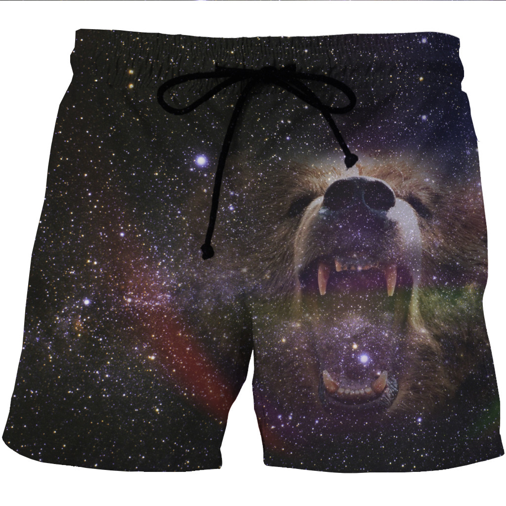 Men's Quick-drying Beach Shorts 3D Creative Printed Casual Side Pocket Shorts