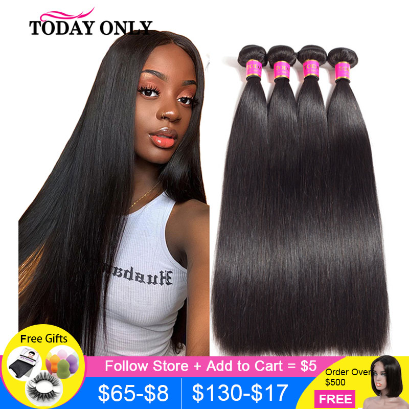 Straight Hair Bundles Hair Extension TODAY ONLY Natural Color Peruvian 1/3/4 Bundles 100% Remy Human Hair Bundles 8-26 Inch