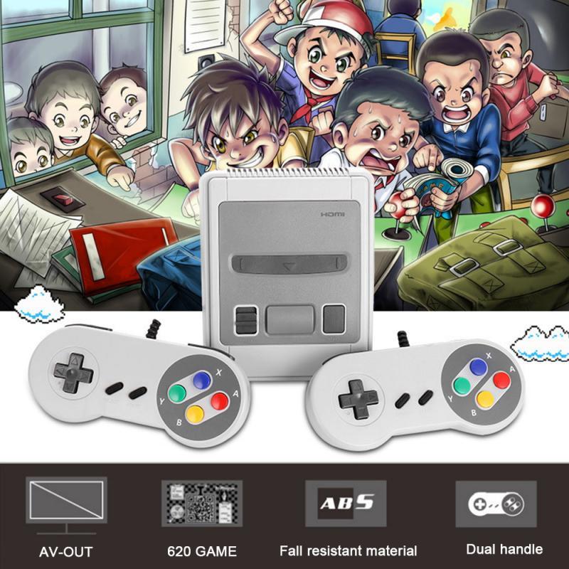 US/EU/UK/AU разъем HDMI-Совместимость чехол для телефона в виде ретро-игровой консоли ТВ 8-битный игровой плеер встроенный 620 игры для супер Nintendo + 2 ...