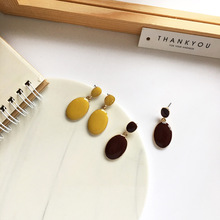 New Fashion French Jewelry Yellow Red Earrings Golden Plating Enamel Oval Drop Earrings For Women Jewelry Gift Hot Selling fashion jewelry golden triangle small black white glass drop earrings woman gift