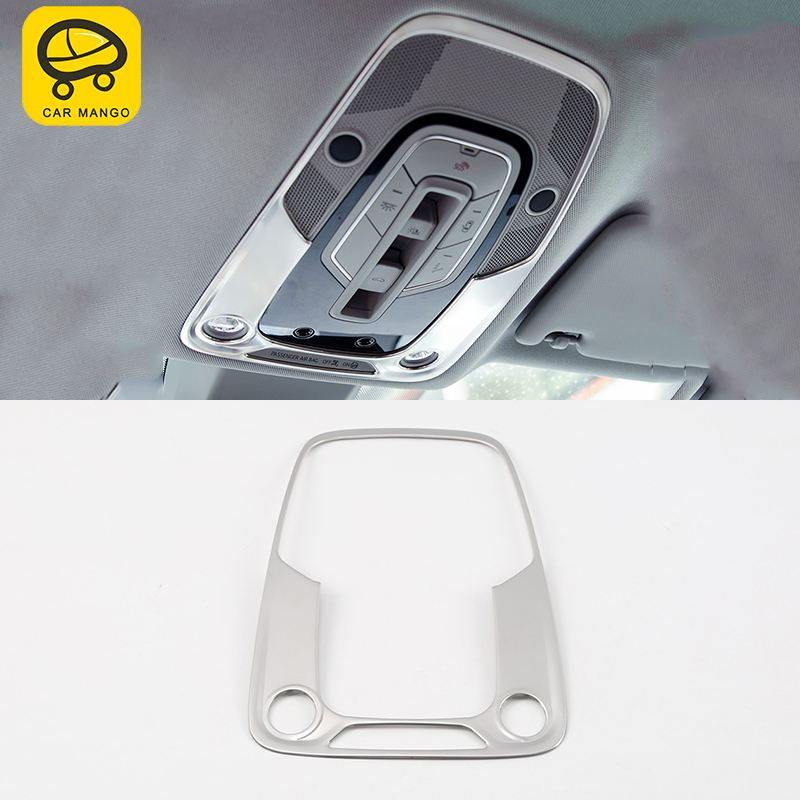 CARMANGO For Audi Q5 FY  2018 Car Styling Front Reading Light Lamp Panel Chrome Cover Trim Frame Sticker Interior Accessories