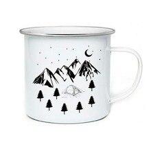 Paslanmaz çelik kamp kahve kupa doğum günü noel açık havada Metal emaye Campfire kupası özel süt emaye kupalar