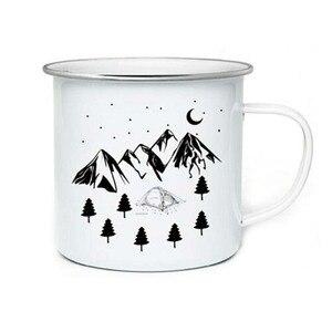 Image 1 - Tasse à café de Camping en acier inoxydable, tasses dextérieur en métal émaillé, tasses de feu de camp, personnalisées, pour anniversaire et noël
