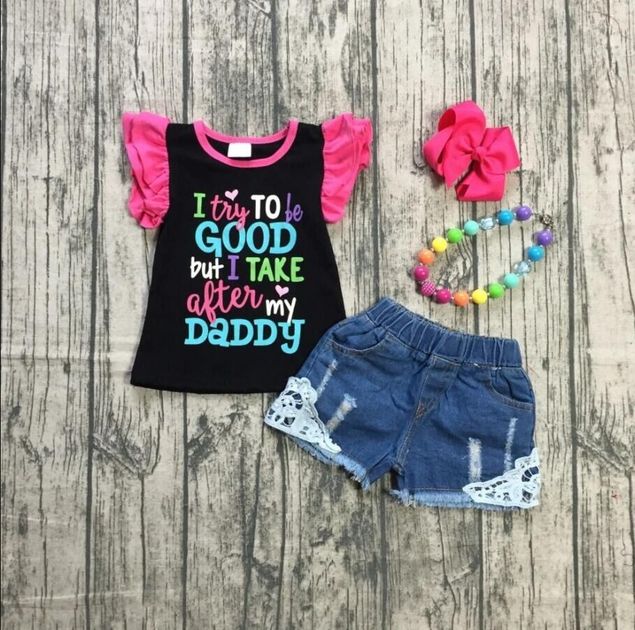 Baby Girls Clothes Girl Summer Outfits Lace Hem Jeans Baby Kids Outfits With Accessories