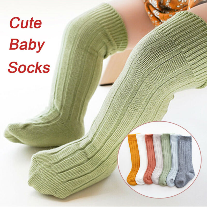 >Pudcoco Bow Cotton <font><b>Casual</b></font> Kids Socks Toddler Infant Baby Girls Boys <font><b>Solid</b></font> Anti-Slip Knitted Knee High Long Socks For <font><b>0</b></font>-<font><b>5Y</b></font> Baby