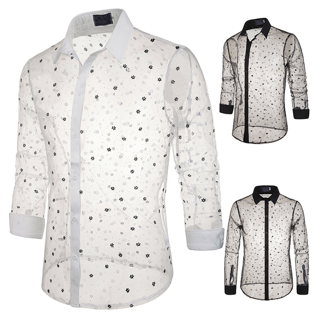 Jazz Costumes Men Sexy Transparent Lace Jersey Men'S Perspective Shirt DJ Rave Clothes Male Singer Nightclub Stage Wear DN5062 1
