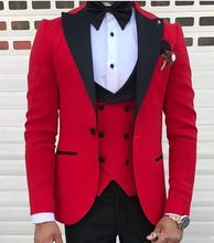 2021 Latest Designs Men's Classic Red Suits for Wedding Groom Tuxedo Slim Fit Terno Masculino Prom Party Best Man 3 Pieces Suit