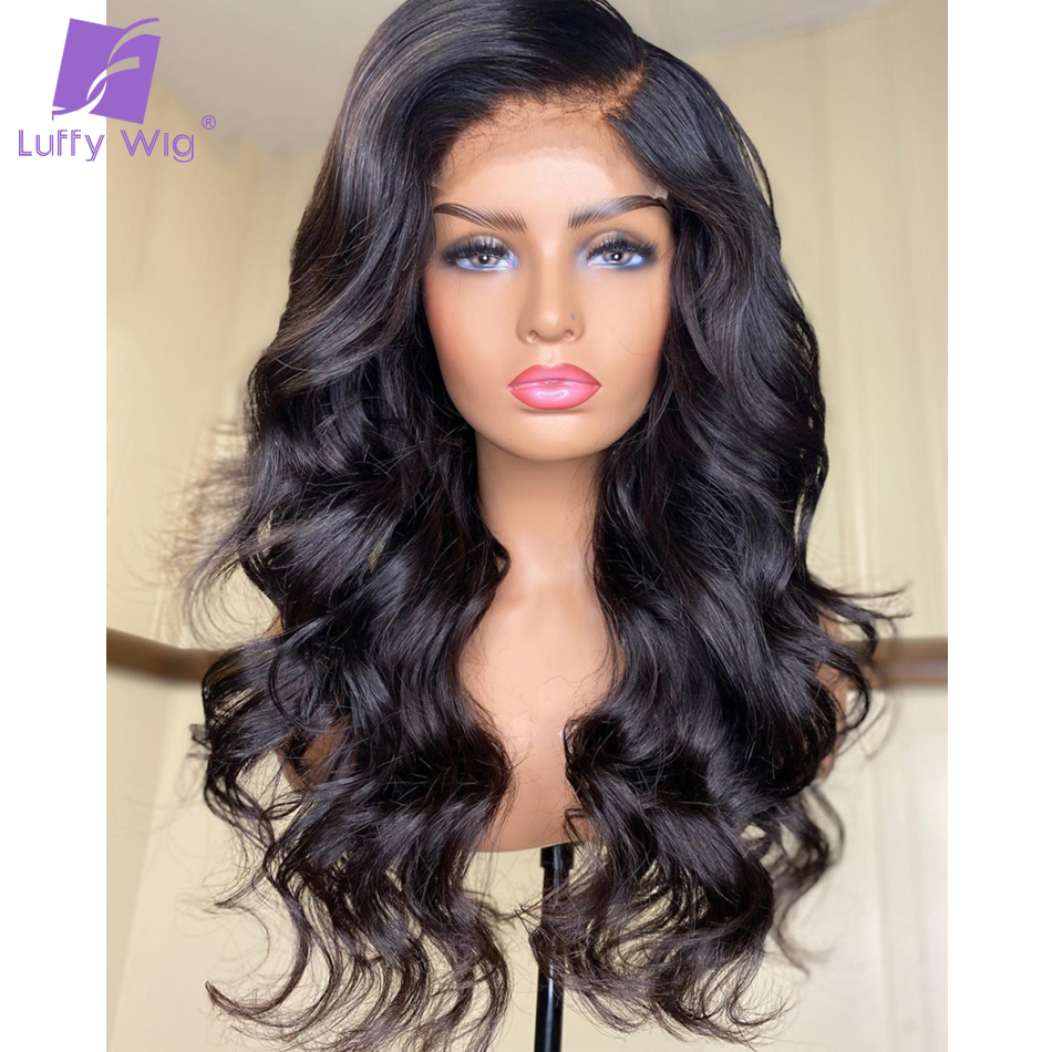 Wavy Fake Scalp Human Hair Wigs 13x6 Deep Part Lace Front Wig Brazilian Remy Hair Pre Plucked Bleached Knots For Women LUFFY