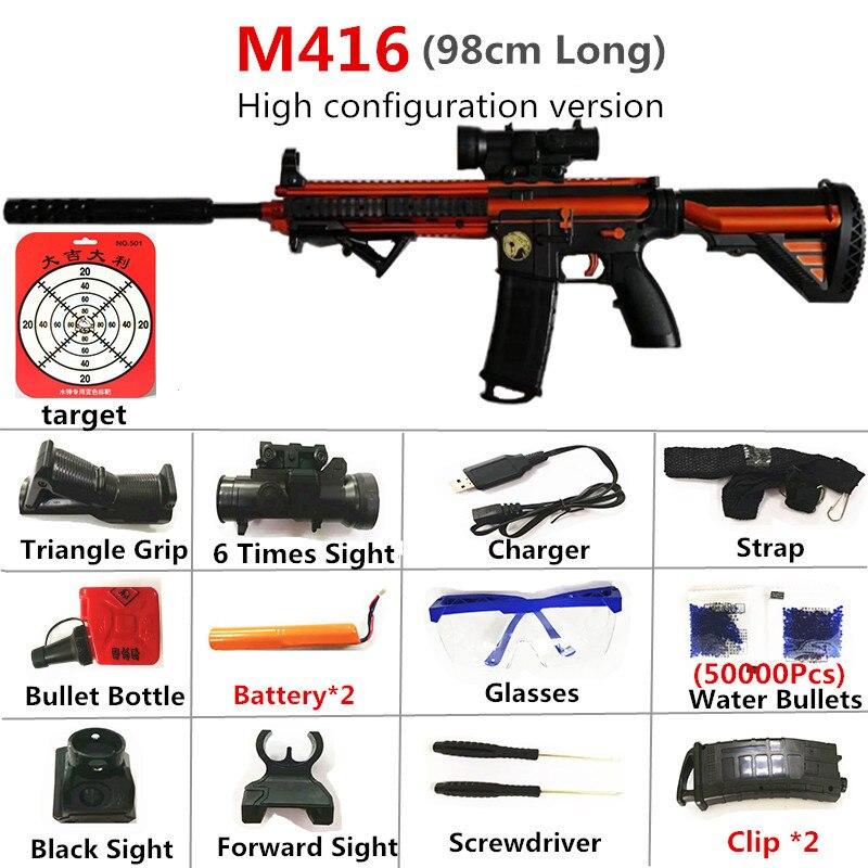 Jouet pistolets M416 arme électronique automatique fusil pistolet 98cm longueur avec sécurité eau balle jeux de plein air tir cadeau de noël