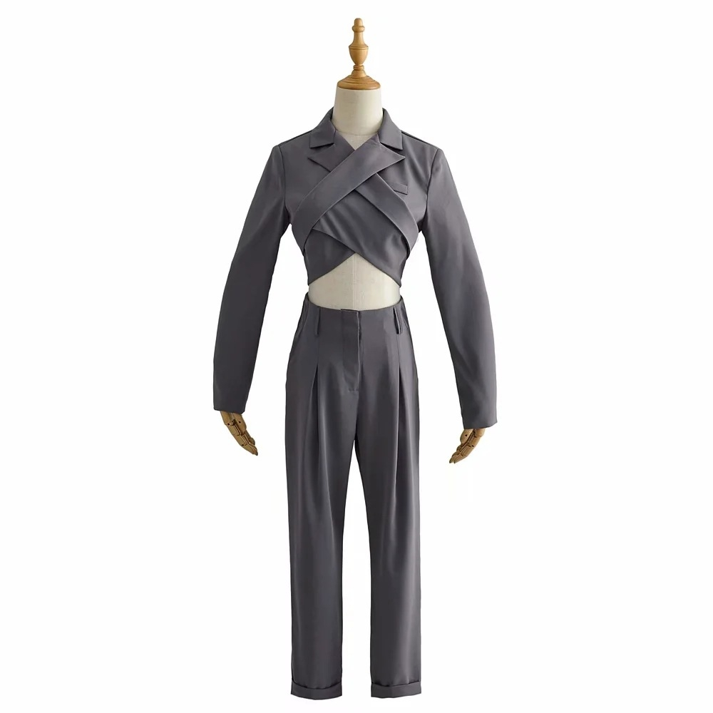 DGLUKE 2020 New Sexy Blazer Suit Long Sleeve Backless Cropped Blazer and High Waist Pants Set Two Piece Gray Blazers Suits