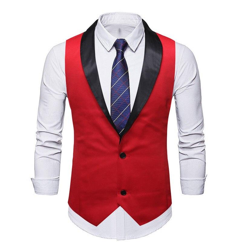 Mens Suit Vest 2019 Brand Red Shawl Collar Slim Fit Dress Vest Waistcoat Men Party Wedding Tuxedo Vests Male Chaleco Hombre XXL