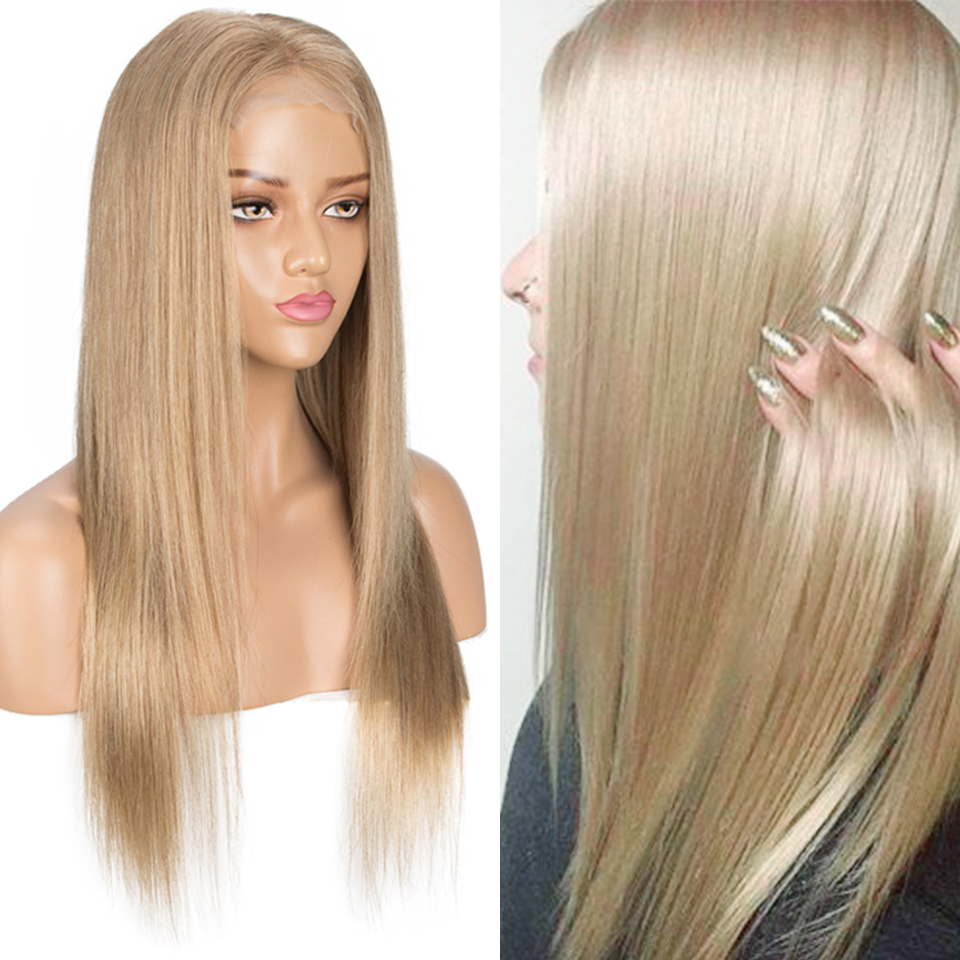 Sleek Human Hair Wigs 4X4 Lace Closure Gold Blonde Remy Brazilian Hair Wigs Straight Bobo 10 Inch Pre-plucked With Baby Hair Wig