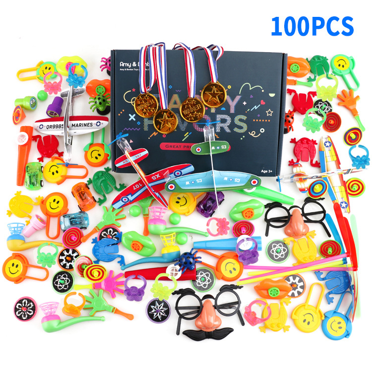 100Pcs Children Birthday Kid's Party Prizes Assorted Small Toys Set Mustache Glasses Magic Mask Medal Star Cartoon Hats