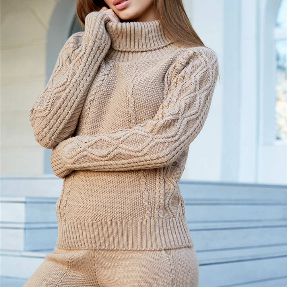 LASPERAL 2019 Female Winter Wool Warm Suit Woman Suits Knitted Turtleneck Twist Sweater+pant Two Piece Set Woman Sport Costumes
