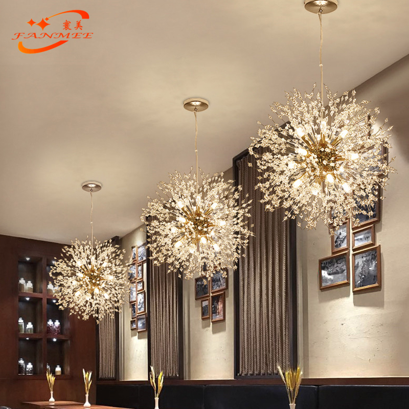 H9b1a3bf2bd97427d99fd5c5510fc0c0aB Modern LED Crystal Chandelier Light Pendant Hanging Lamp Dandelion Cristal Chandelier Lighting for Living Dining Room Decoration