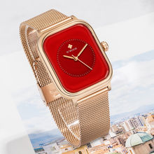 Wwoor роскошные женские квадратные часы из розового золота от