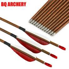 6/12 pçs tiro com arco e flecha de carbono id4.2mm madeira espinha da pele 600 700 800 arco recurvo tradicional e flechas tiro caça