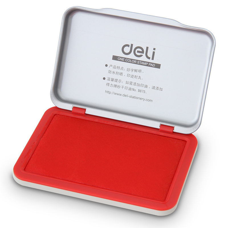 Red Color Stamp Pad, Metal Cover Sponge Pad, Water Based Ink Pad, Finance Office Finance Inkpad Accessories School Supplies F643