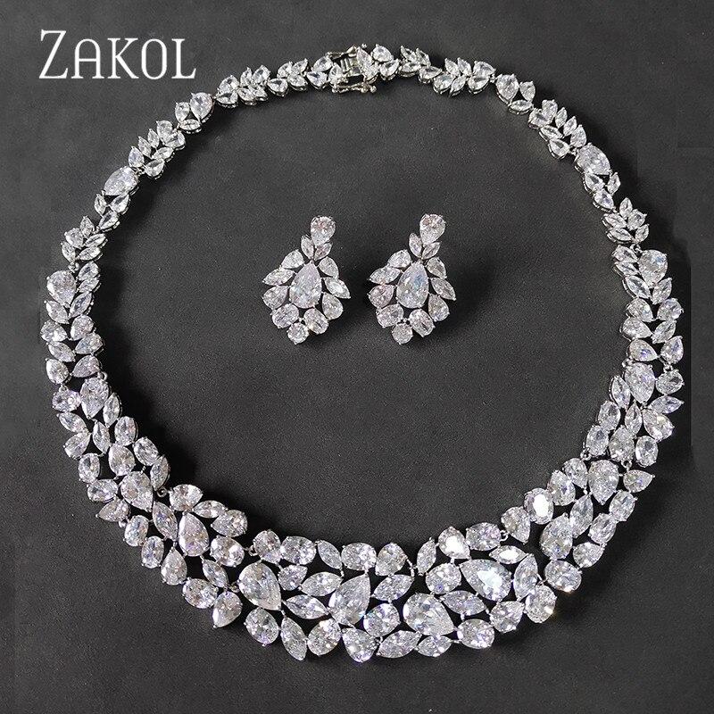 ZAKOL брендовые белые AAA + CZ циркониевые серьги ожерелье женское роскошное свадебное платье FSSP2002