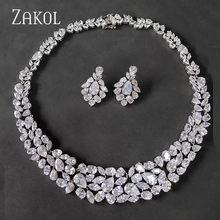 Zakol marca branco aaa + cz zircônia brincos colar conjunto de jóias para as mulheres de luxo vestido de casamento nupcial fssp2002