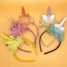 Cute Unicorn Girls Sequins Glitter Hairband Rainbow Cat Ears Kid Party Cartoon Headband Hair Accessories 1Pcs